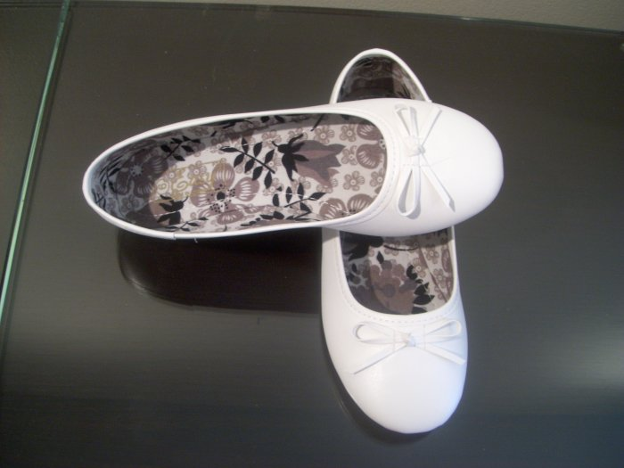 Women White Ballet Slippers Shoes Wedding Prom Flats Size 8