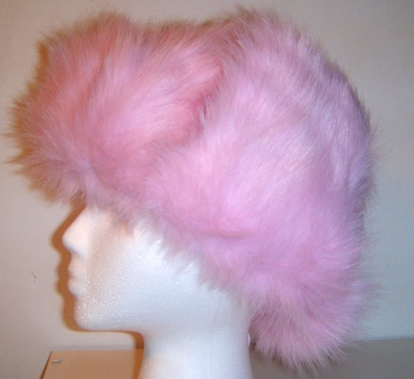 Women Russian Pink Faux Fur Trooper Trapper Hunter Ski Winter Coat Hat Cap
