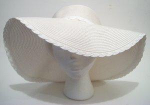 White Floppy  Straw Bride Church Wedding Derby Easter  Sun Beach Hat
