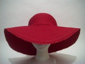 Red Society Floppy  Straw Bride Church Wedding Derby Easter Sun Hat