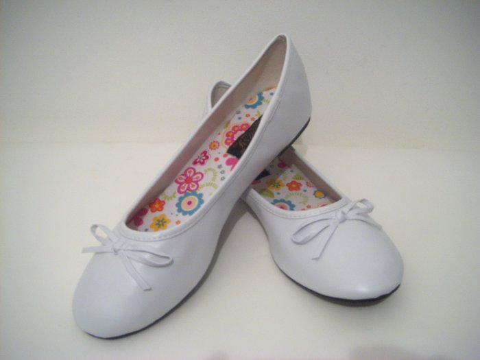 Women White Ballet Slippers Shoes Wedding Prom Flats Size 9