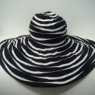 Black White Wide Brim Ribbon Packable Crushable  Floppy  Sun Hat