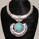 Tribal Silver Turquoise Chunky Bib Statement Necklace Earrings Set