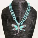 Multi Strands Turquoise Dragonfly Statement Necklace Earrings Set