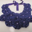 Chunky Fabric Flower Purple Rose Bib Ribbon Statement Necklace