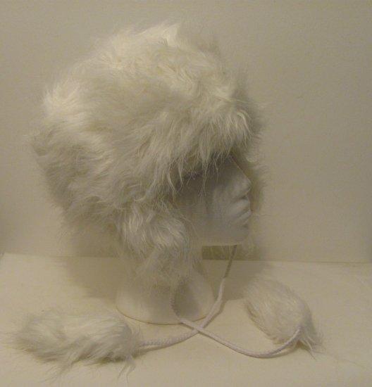 Women Girl  Russian White Faux Fur Trooper Trapper Hunter Aviator Ski Winter Coat Hat Cap