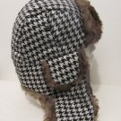 Men Women Russian Faux Fur Trapper Houndstooth Ski Hat Cap