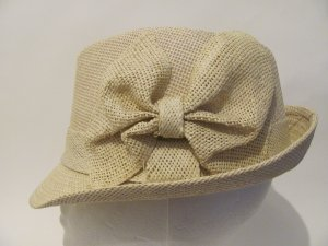 Women Stingy Brim Natural Bow Straw Fedora Hat Cap L/XL