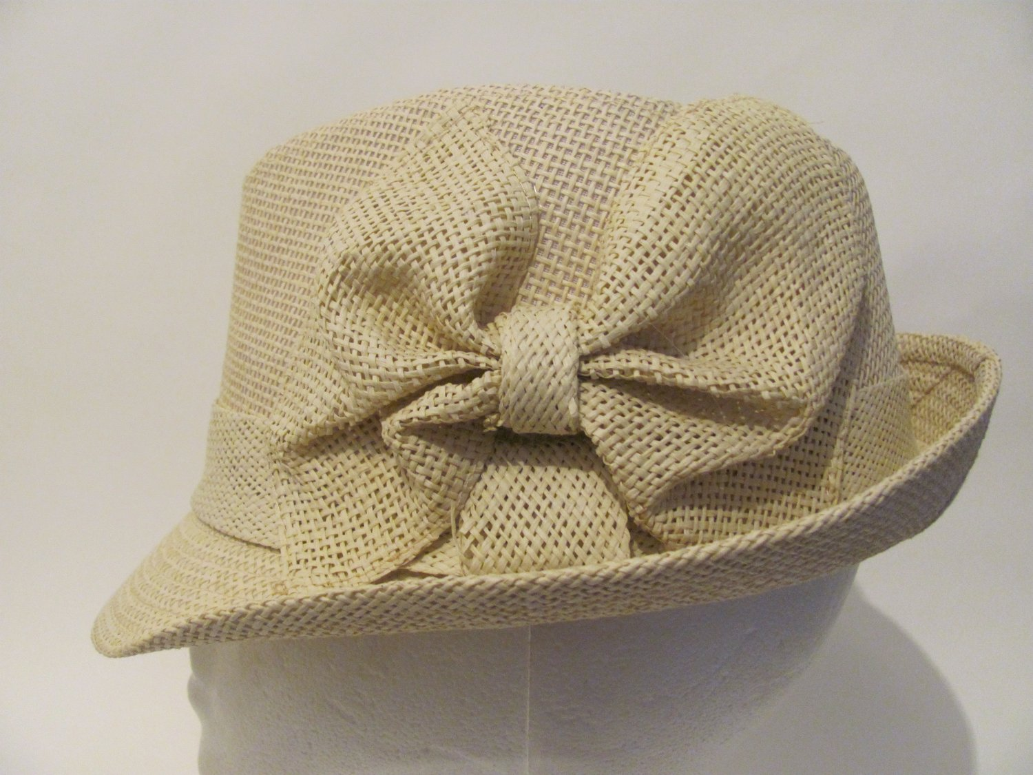 Women Stingy Brim Natural Bow Straw Fedora Hat Cap S/M