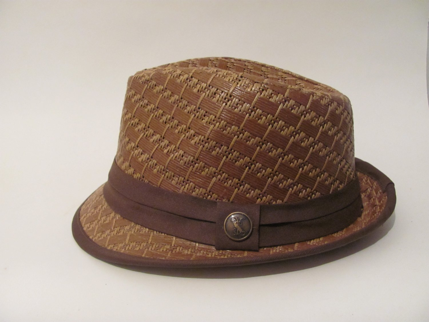 Men Women Stingy Brim Wheat Straw Fedora Hat Cap S/M