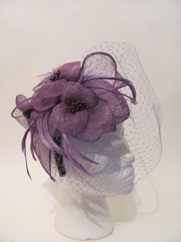 Women Purple Formal Fascinator Headband Derby Wedding Dress Hat