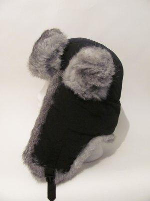 Brand New Genuine Black Rabbit Snow Fur Snow Ski Aviator Trooper Trapper Coat Hat