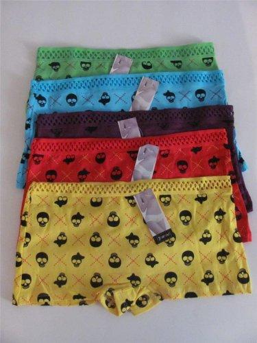 5 Pairs Wholesale Women Girl Skull Boyshorts Underwear Cotton Spandex Panties S
