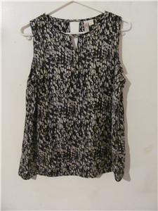 Brand New Women Size XLarge Shirt Blouses Tops Black/Off White Sleeveless