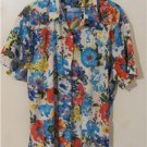 Brand New Women Plus Size 2X Floral Cover Up Shirt Tops Blouse Short Sleeves
