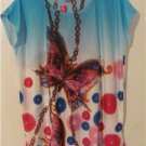 Women Plus Size 1X, 2X, 3X Butterfly Tunic Shirt Blouses Tops Cover Up Beach