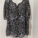 New Women Plus Size 1X Tunic Leopard Camisole Shirt Blouses Tops 3/4 Sleeves