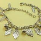 Fishbones Leaf Leaves Balls Rhodium Anklet / Bracelet
