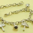 Umbrellas Jingle Bells Rhodium Anklet / Bracelet