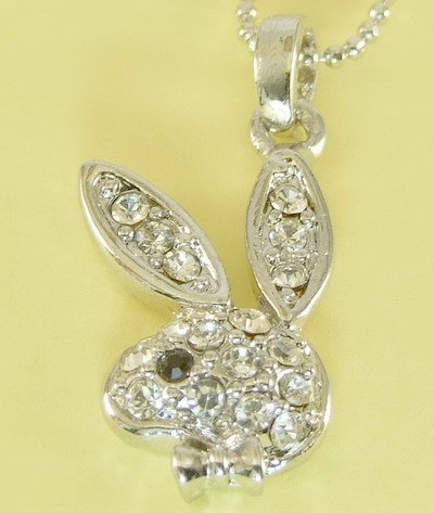 Silver Play Boy Rabbit Hare Bunny Pendant Charm Necklace Chain