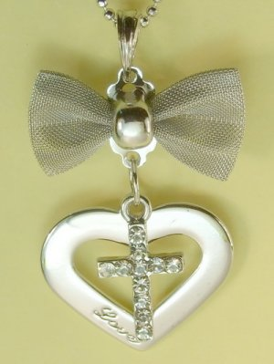 Bow Christian Cross Love Heart Pendant Charm Rhodium Chain Necklace