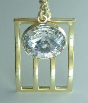 Golden Gold Plate Gilt Wave Pendant Charm Necklace