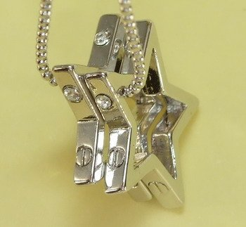 Double Silver Stars Pendants Charm Rhodium Chain Necklace