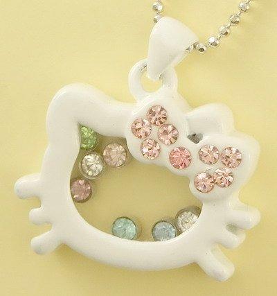 White Kitty Cat Kitten Pendant Charm Chain Necklace
