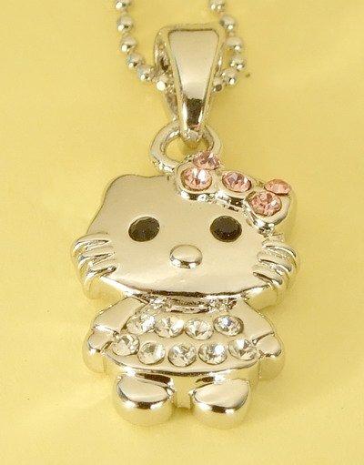 Hello Kitty Cat Pendant Charm Rhodium Chain Necklace