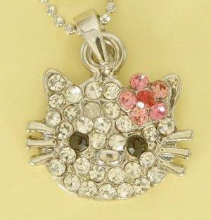 Kitty Cat Kitten Pink Flower Pendant Rhodium Charm Necklace