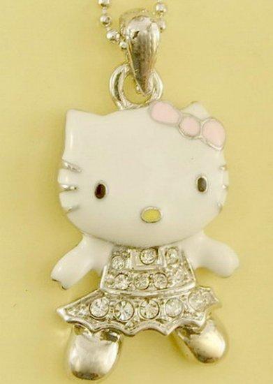 Hello Kitty Cat Kitten Pink Bow Pendant Charm Rhodium Chain Necklace