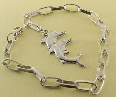Dolphin Pair Rhodium Anklet / Bracelet  27 cm.
