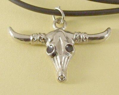 Carabao Buffalo Head Pendant Charm Rubber Chain Necklace