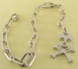 Skull and Cross Bones , Jolly Roger Rhodium Anklet / Bracelet  26 cm.