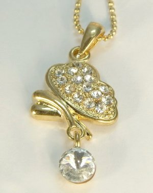 Golden Butterfly Gold Plated Gilt Pendant Charm Chain Necklace