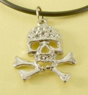 Skull and Cross Bones Pendant Rubber Chain Necklace