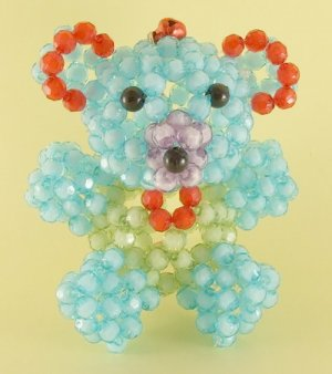 Bear Crystal Beads Key Chain Ring Handmade Key Ring
