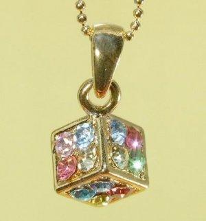 Colorful  Dice  Cube  Pendant  Chain  Necklace