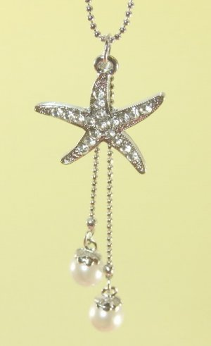 Silver  Starfish  Pendant  Rhodium  Chain  Necklace