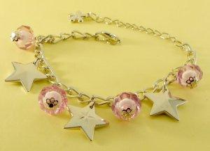 Light Purple Balls Beads & Stars Rhodium Anklet / Bracelet