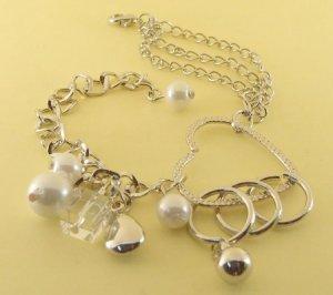 White Balls Beads & Heart Rhodium Anklet / Bracelet