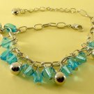 Blue Crystal Beads Rhodium Anklet / Bracelet