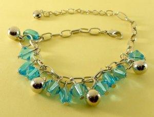 Blue Crystal Beads Rhodium Anklet / Bracelet