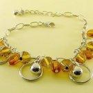 Light Brown Beads & Bells Rhodium Parallel Anklet / Bracelet