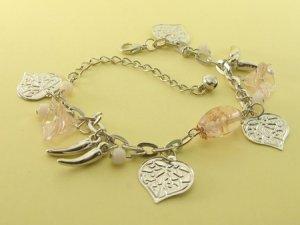 Light  Pink  Crystal Beads & Leaves Rhodium Anklet / Bracelet