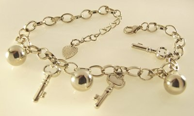 Keys and Balls Rhodium Anklet / Bracelet 28 cm.