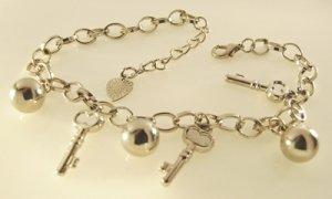 Keys and Balls Rhodium Anklet / Bracelet 28 cm.