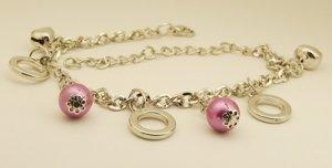 Purple Beads Rings Hoops Rhodium Anklet / Bracelet