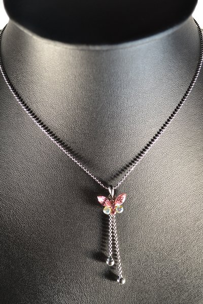 Mini Small Long tailed Pink Butterfly Animal Pendant Rhodium Chain Necklace