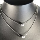 Silver Ball Pendant Double Twice Rhodium Chain Necklace